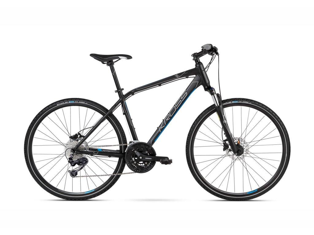 Trekové / krosové kolo Kross EVADO 6.0 SR - black/blue - model 2021   CykloWorld.eu