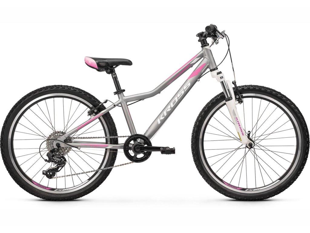 "Dětské kolo 24"" (9 - 12 let) Kross LEA JR 2.0 SR (silver/pink/white) - silver/pink/white - model 2021 | CykloWorld.eu"