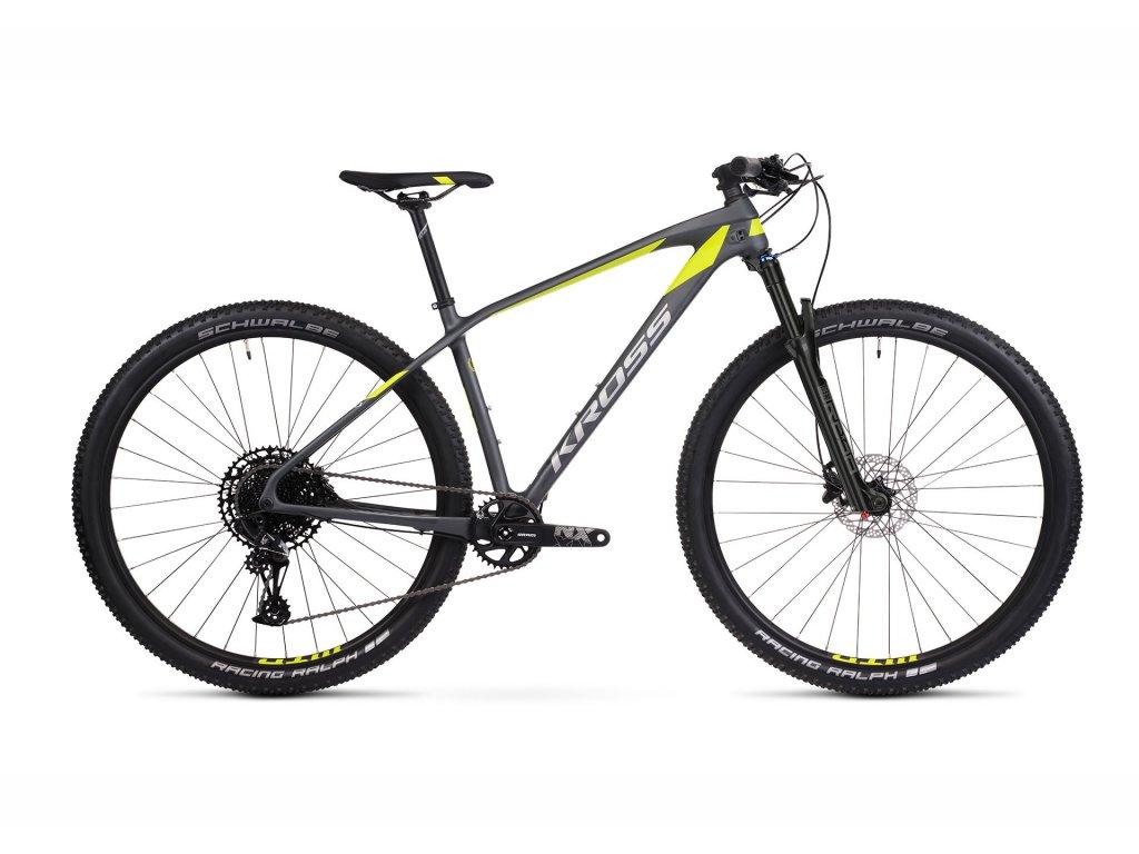 Horské kolo Kross LEVEL 12.0 - graphite/lime/silver - model 2021   CykloWorld.eu