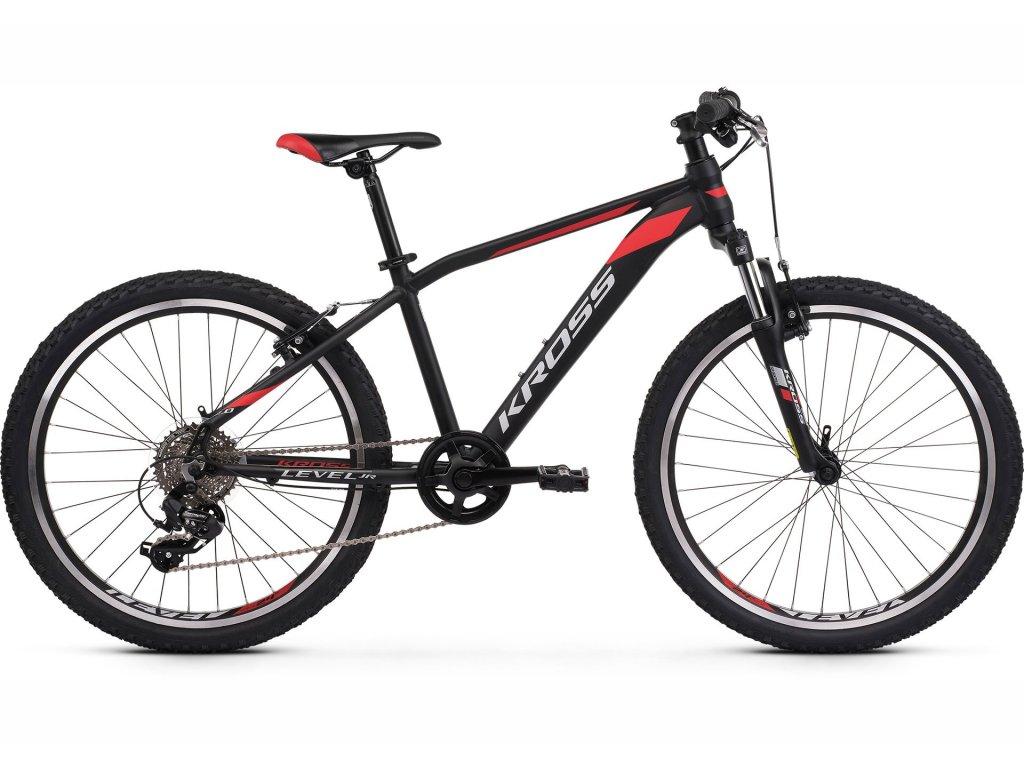 "Dětské kolo 24"" (9 - 12 let) Kross LEVEL JR 2.0 (black/red/silver) - black/red/silver - model 2021   CykloWorld.eu"