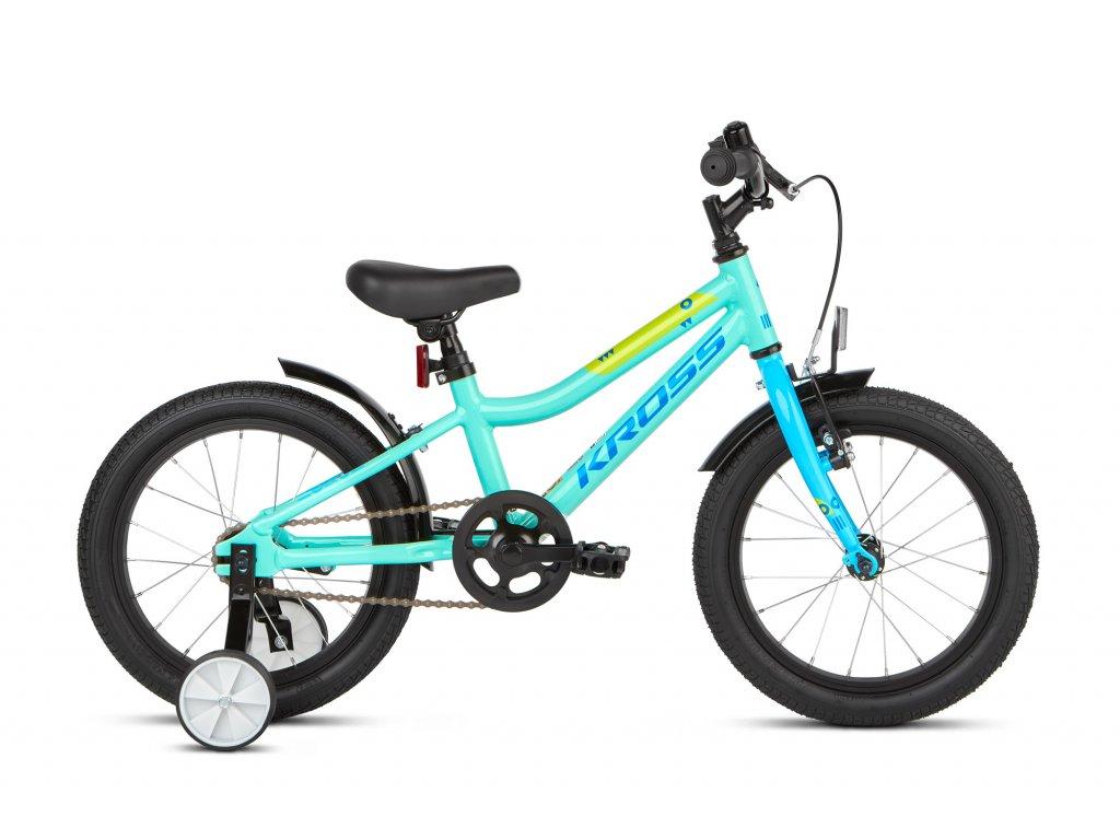 """Dětské kolo 16"""" (4 - 6 let) Kross MINI 4.0 - turquoise/blue/green - model 2021   CykloWorld.eu"""