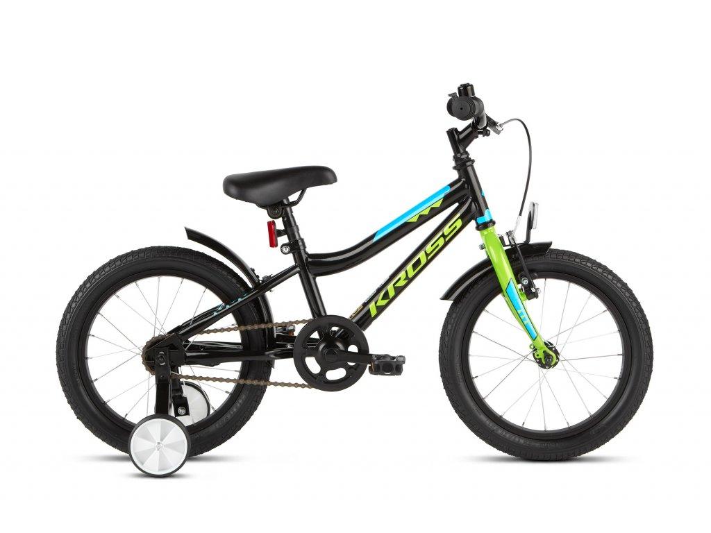 """Dětské kolo 16"""" (4 - 6 let) Kross RACER 3.0 - black/lime/blue - model 2021   CykloWorld.eu"""