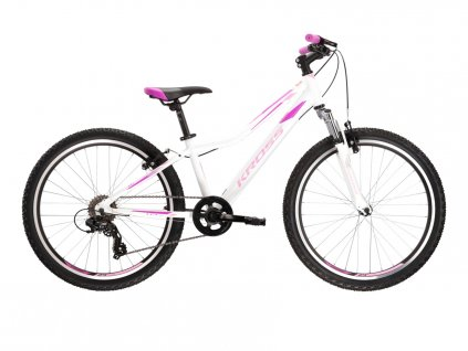 "Dětské kolo 24"" (9 - 12 let) Kross LEA JR 1.0 SR (white/pink/violet) - white/pink/violet - model 2021 | CykloWorld.eu"