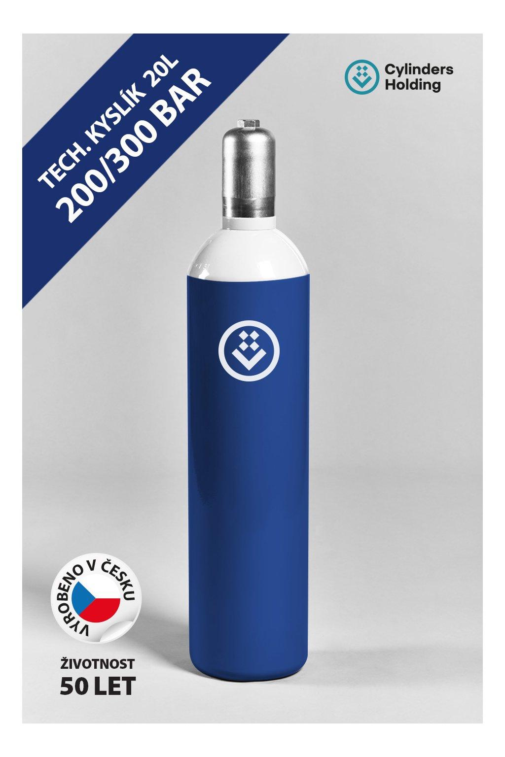 Technický kyslík O2 ocelová lahev 20L