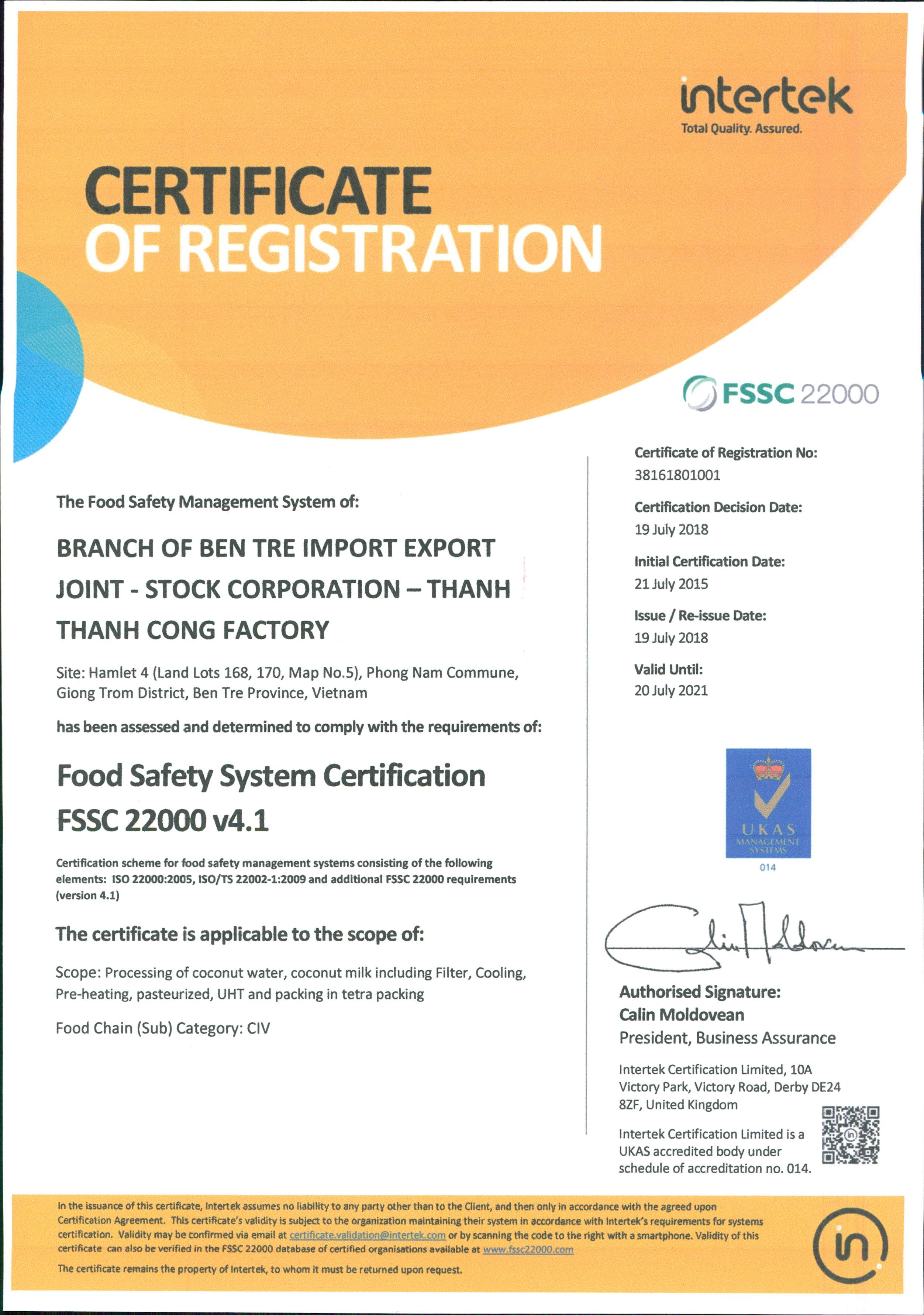 Certification-FSSC22000