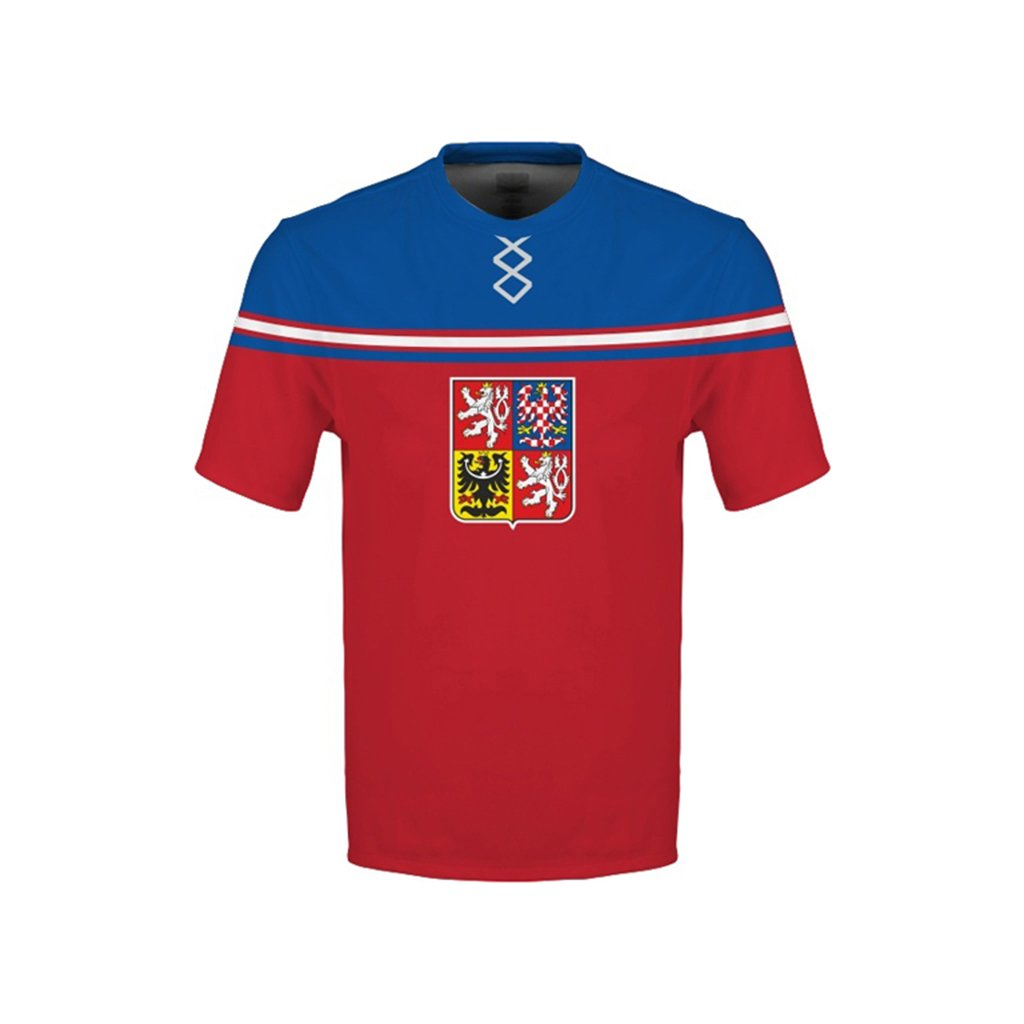tshirt man red czech hockey emblem subli