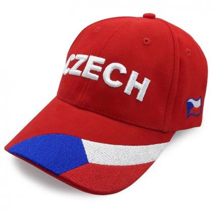 Kšiltovka CZECH – červená s vlajkou
