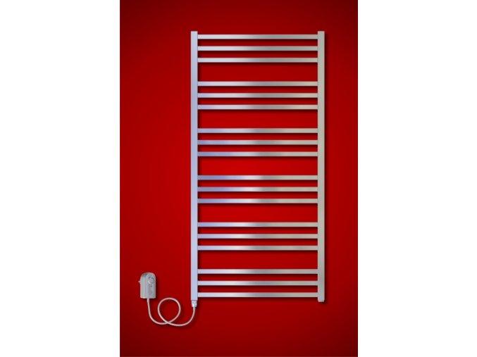 AV.ER koupelnový radiátor elektrický 1210 x 480 mm, metalická stříbrná (El. vývod Pravé provedení)