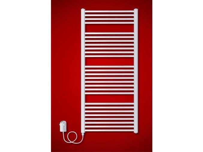 BKO.ER 600 x 1850 mm koupelnový radiátor  s regulátorem teploty, oblý (El. vývod Pravé provedení)