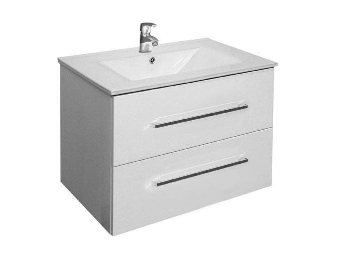 Trento W 75 bílá - koupelnová skříňka závěsná zásuvková s keramickým umyvadlem | czkoupelna.cz