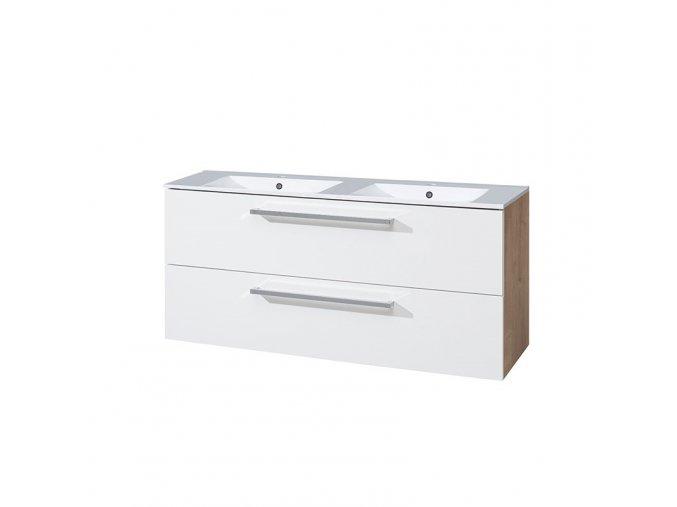 CN673 Koupelnová skříňka s keramickým dvoumyvadlem 120 cm, bílá/dub