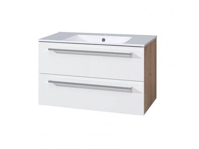 CN671 Koupelnová skříňka s keramickým umyvadlem 80cm, bílá/dub