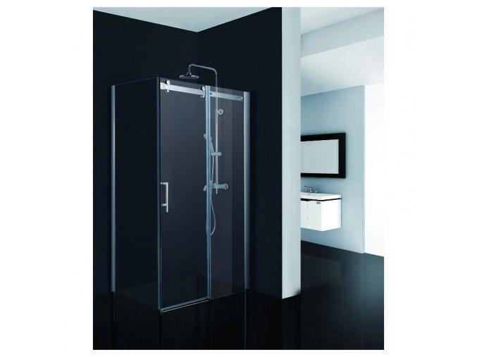 Obdélníkový sprchový kout BELVER KOMBI - 195 cm, 110 cm × 100 cm, Univerzální, Hliník chrom, Čiré bezpečnostní sklo - 8 mm | czkoupelna.cz
