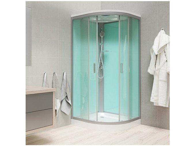 Sprchový box se stříškou, čtvrtkruh, 100x100x222 cm   czkoupelna.cz