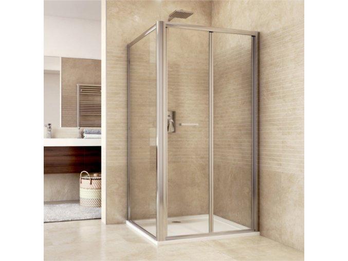 Sprchový kout, Mistica Exclusive, obdélník, 80x100 cm, chrom. profily, sklo 6 mm, zalamovací dveře (Výplň chinchilla)
