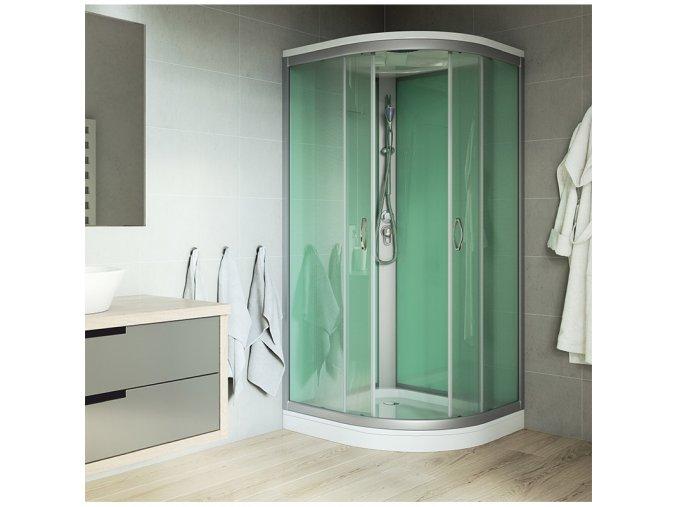 sprchový box, čtvrtkruh, 90 x 90 x 220 cm, R550, profily satin, sklo Point, se stříškou, vanička litý mramor (CK35122MS) | czkoupelna