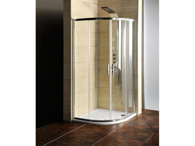 Čtvrtkruhová sprchová zástěna 900x900x1900mm, čiré sklo   czkoupelna