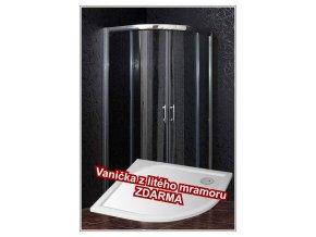 BRILIANT 90 clear sprchový kout + vanička litý mramor - SET (Otvor  pro sifon Střed)