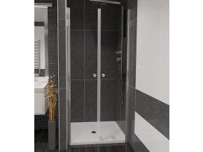 Sprchové dveře Vitoria Plus - 900 x 1850 mm, Bez vaničky, Leštěný hliník, 5mm čiré