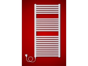 BKM.ES Koupelnový elektrický radiátor levý  obloukový, síťová vidlice s vypínačem