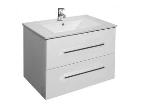 Trento W 60 bílá - koupelnová skříňka závěsná zásuvková s keramickým umyvadlem