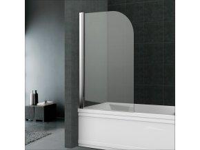 Vanová zástěna, 75 cm, leštěný hliník, sklo čiré nebo point | czkoupelna.cz