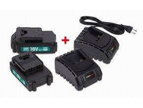 POWEB9090 - Sada 2x baterie 18V LI-ION 1.5Ah  plus  2x nabíječka  Sada 2x baterie 18V LI-ION 1.5Ah + 2x nabíječka