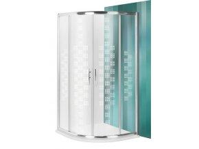 PXR2N DESIGN PLUS Čtvrtkruhový sprchový kout s dvoudílnými posuvnými dveřmi