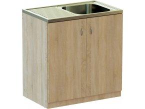 Kuchyňská skříňka DUB 80 cm s NEREZ dřezem | czkoupelna