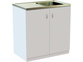 Kuchyňská skříňka BÍLÁ 80 cm s NEREZ dřezem