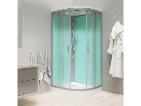 Sprchový box se stříškou, čtvrtkruh, 100x100x222 cm | czkoupelna