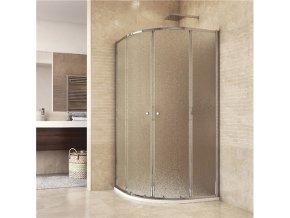Sprchový set: kout čtvrtkruh, 90x90x185 cm, R550, chrom ALU, sklo Grape, SMC vanička | czkoupelna.cz