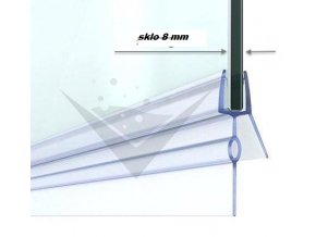 Stírací lišta silikonová spodní 100cm, na sprchové dveře 8 mm - sada 2 ks | czkoupelna.cz