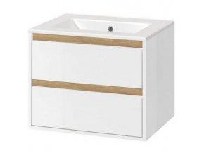 Koupelnová skříňka EXC s keramickým umyvadlem 60 cm bílá/dub 2 zásuvky | czkoupelna.cz