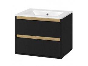 Koupelnová skříňka EXC s keramickým umyvadlem 60 cm černá/dub 2 zásuvky | czkoupelna.cz