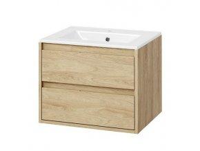 Koupelnová skříňka EXC s keramickým umyvadlem 60 cm dub/dub 2 zásuvky | czkoupelna.cz