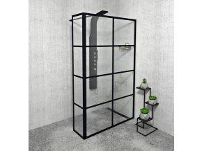 CURE BLACK sprchová zástěna 1200 mm černá mat + přídavný panel 350 mm | czkoupelna.cz