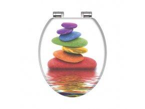 WC prkénko MDF Soft Close Colorful Stones 80120  | czkoupelna.cz