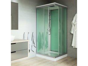 Sprchový box, čtvercový, 90 x 90 x 220 cm, profily satin, sklo Point, vanička litý mramor, se stříškou (CK34122MS)