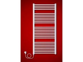 BKO.ES Koupelnový elektrický radiátor levý  obloukový, síťová vidlice s vypínačem