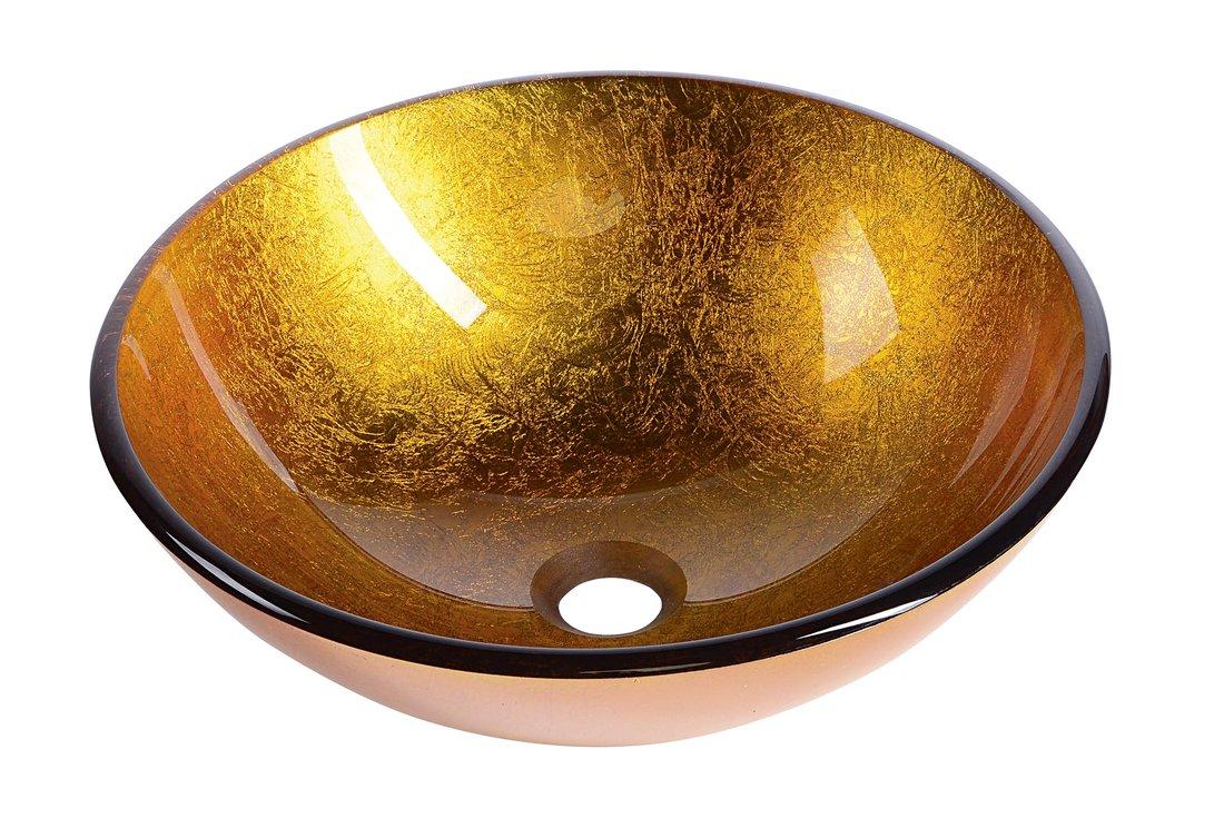 Sapho AGO skleněné umyvadlo průměr 42 cm, zlatě oranžová