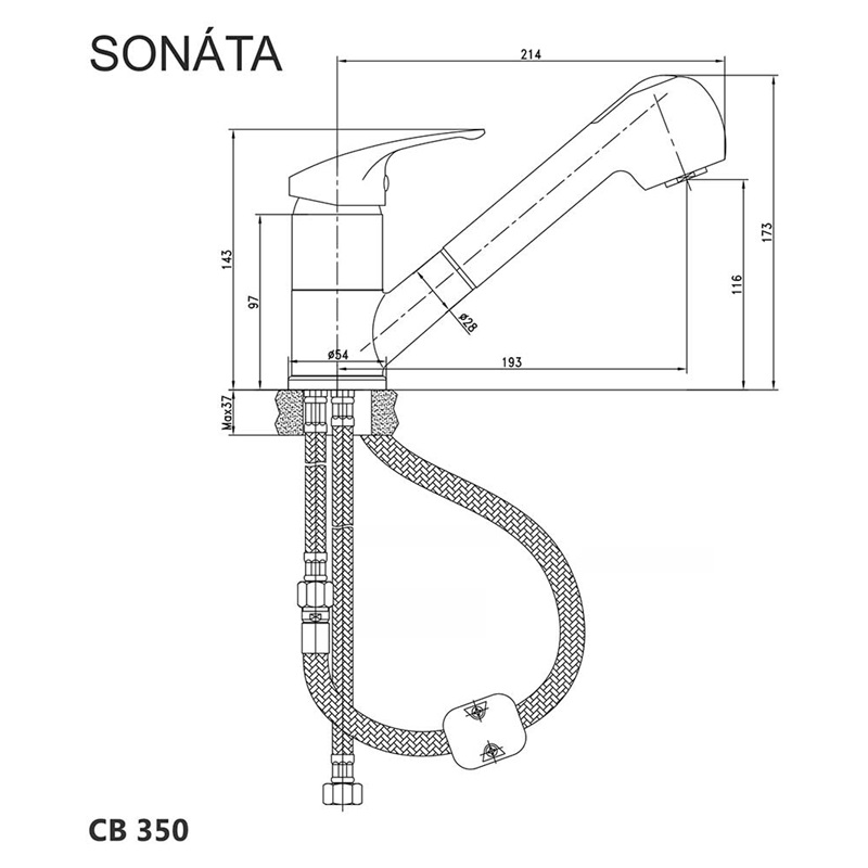 Mereo SONÁTA - Baterie dřezová stojánková s výsuvnou sprchou