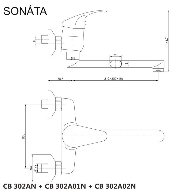 Mereo SONÁTA - Baterie dřezová nástěnná 100 mm s ramínkem plochým rovným - 210 mm, kartuše 40 mm tříkroková
