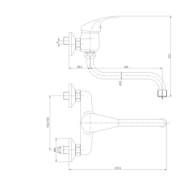Mereo SONÁTA - Baterie dřezová nástěnná 100 mm