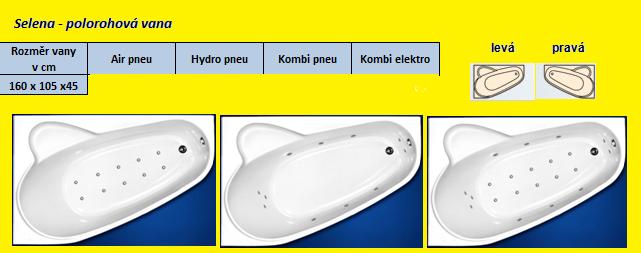 Excel HYDROMASÁŽNÍ VÍŘIVÁ VANA SELÉNA POLOROHOVÁ KOMBI ELEKTRO 160 x 105 cm