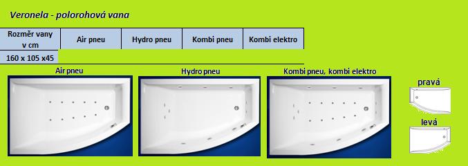 Excel HYDROMASÁŽNÍ VÍŘIVÁ VANA VERONELA AIR PNEU 160 x 105 cm