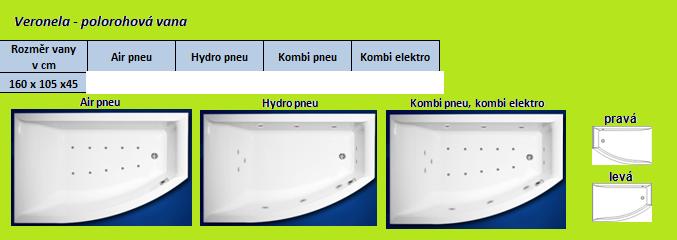 Excel HYDROMASÁŽNÍ VÍŘIVÁ VANA VERONELA KOMBI PNEU ELEKTRO 160 x 105 cm