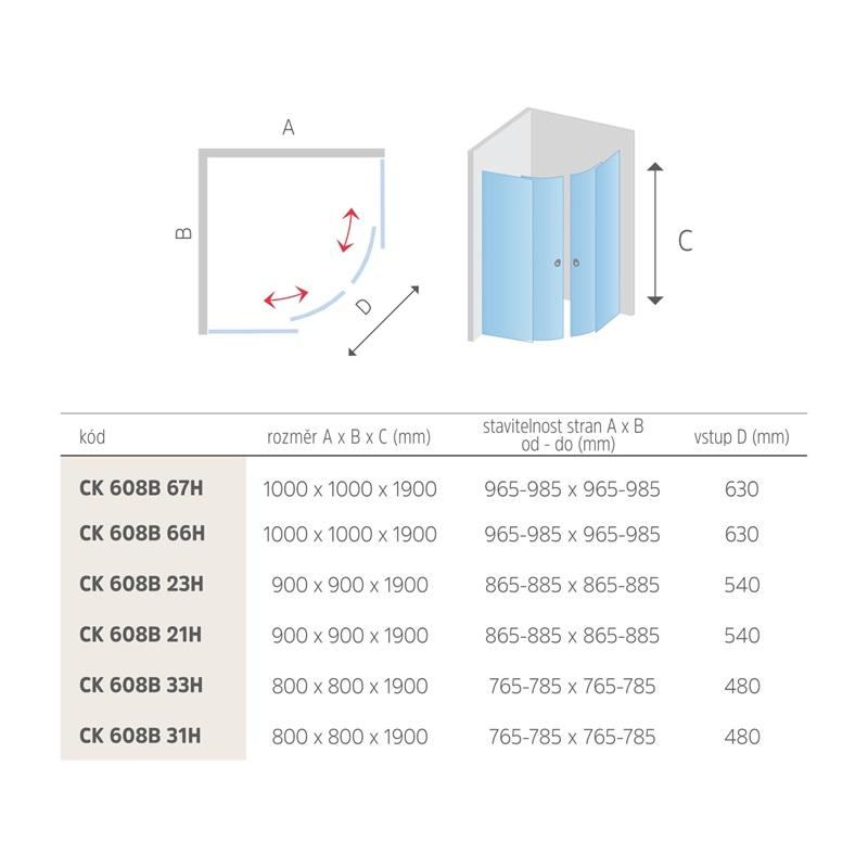 Mereo Sprchový kout, Mistica, čtvrtkruh, 90 cm, R550, chrom ALU, sklo čiré nebo grape Výplň: grep sklo