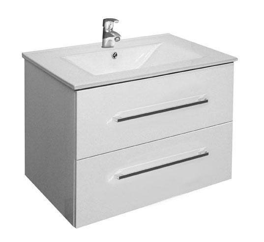 A-interiéry Trento W 75 bílá - koupelnová skříňka závěsná zásuvková s keramickým umyvadlem
