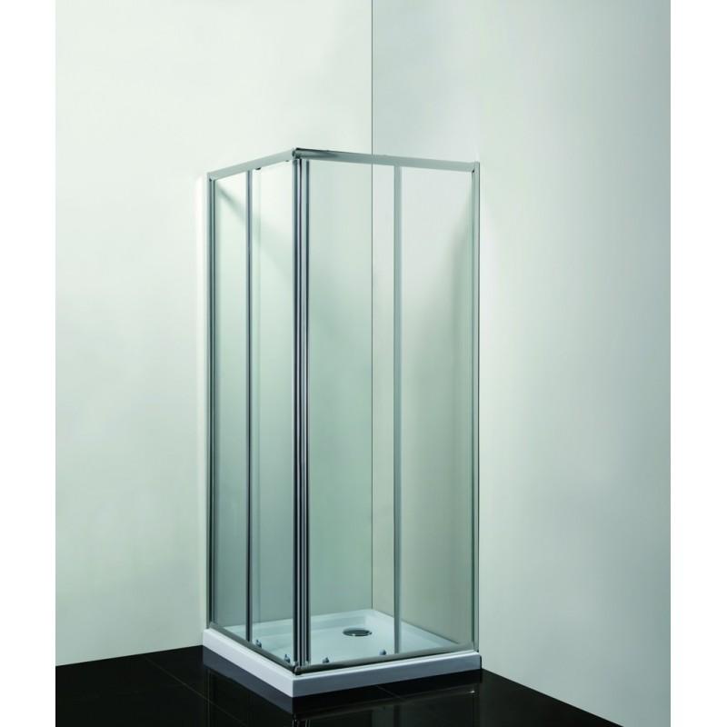 Olsen Spa SMART-RANDA čtvercový kout s vaničkou - 900 × 900 × 1900 mm, Včetně vaničky, Hliník chrom, 6mm čiré